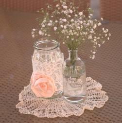 Vintage jars wedding centrepiece