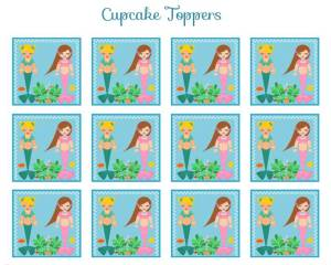 Mermaid cupcake toppers free printables