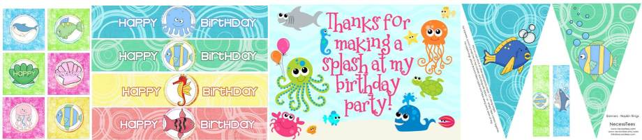 Under the Sea Free party printables group