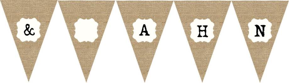 Vintage hessian bunting flag group