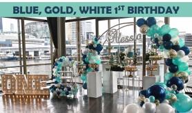 Blue white gold 1st birthday party Icon