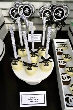 Chanel themed cake pops party