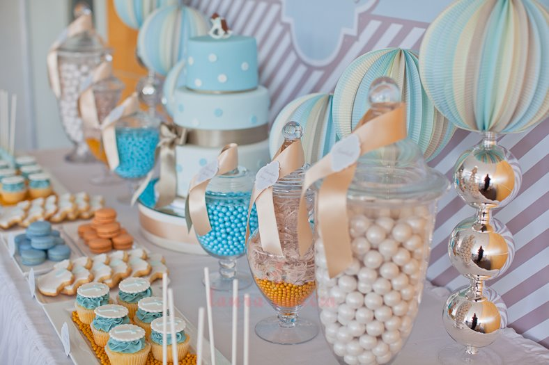 Blue amp White Elegant Christening Tickled Pink Party Ideas