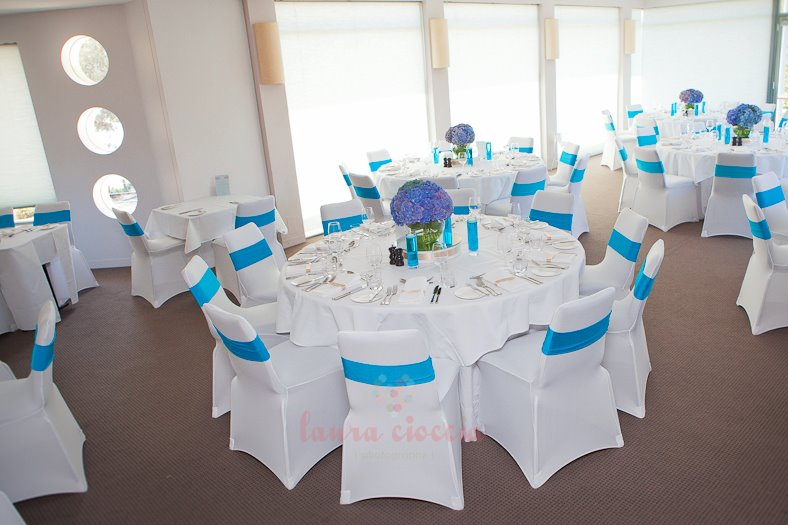 Blue & White Christening venue tables