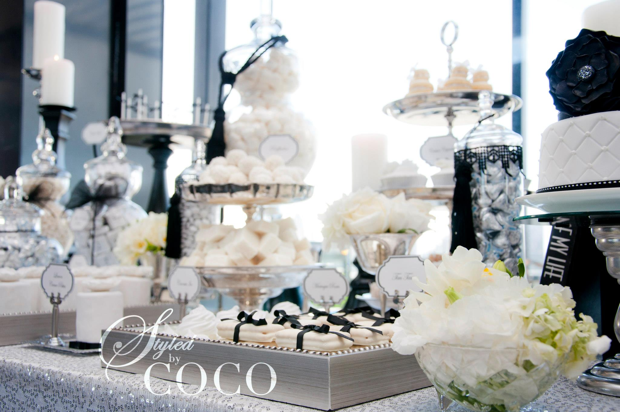 Black White French Wedding Dessert Table Tickled Pink Party Ideas