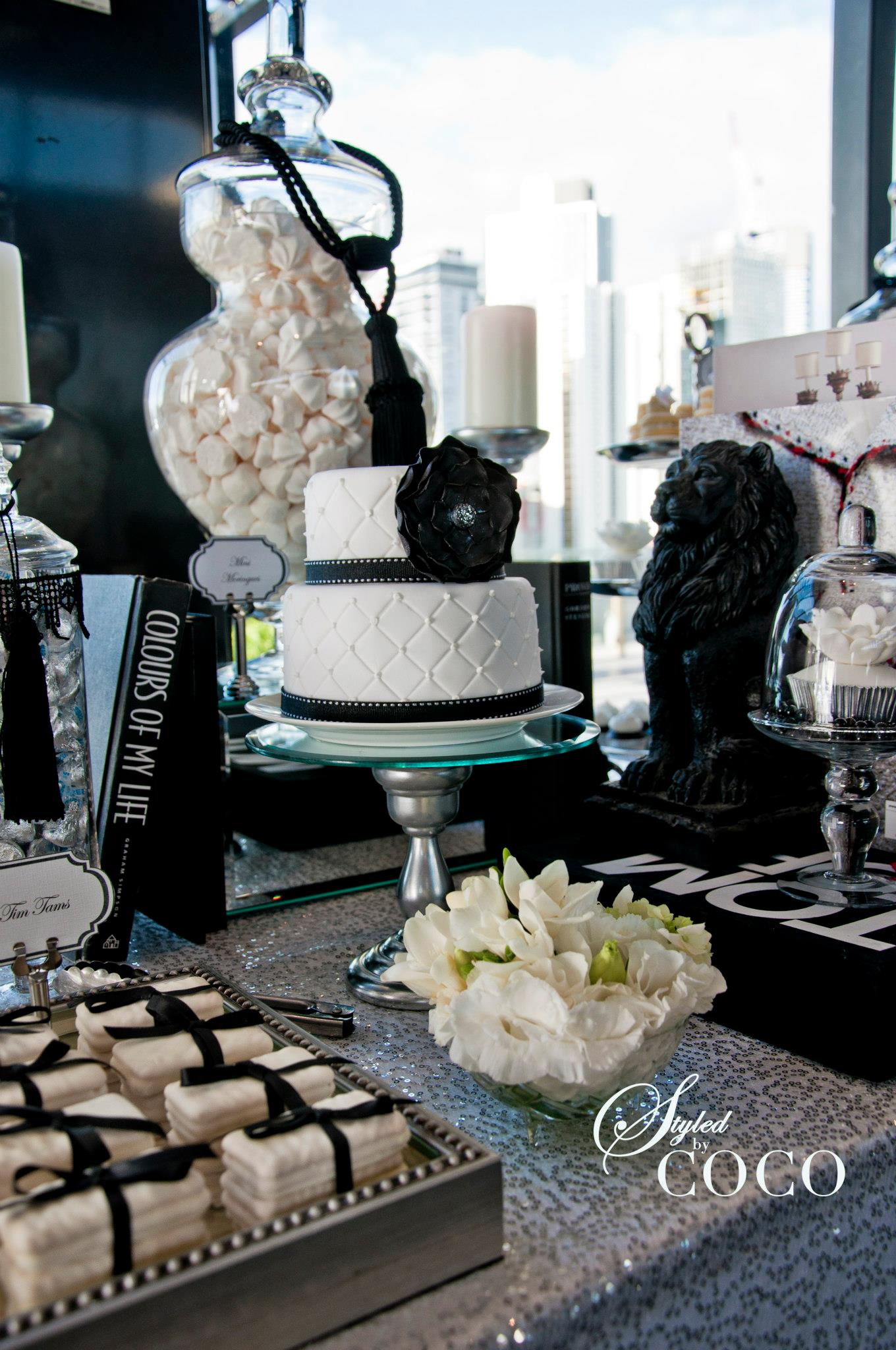 black white french wedding dessert table tickled pink party ideas. Black Bedroom Furniture Sets. Home Design Ideas