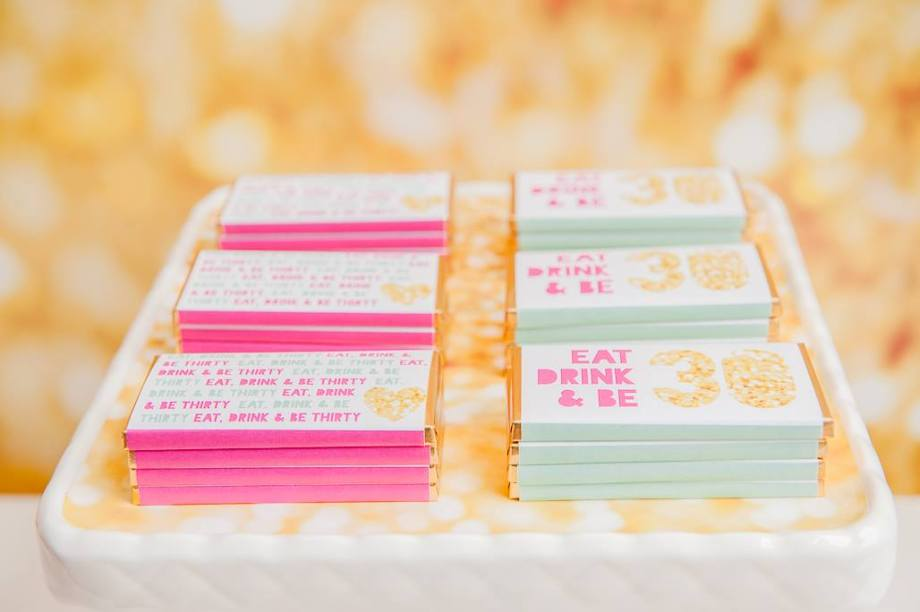 Chocolate bars gold pink glitter party