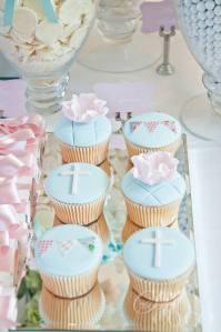 Christening pastel blue cupcakes