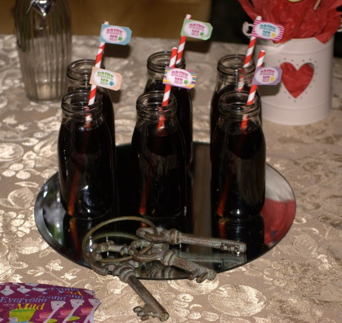 Drink Me bottles vintag key alice in wonderland party