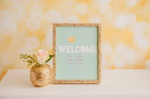 Gold glitter frame party