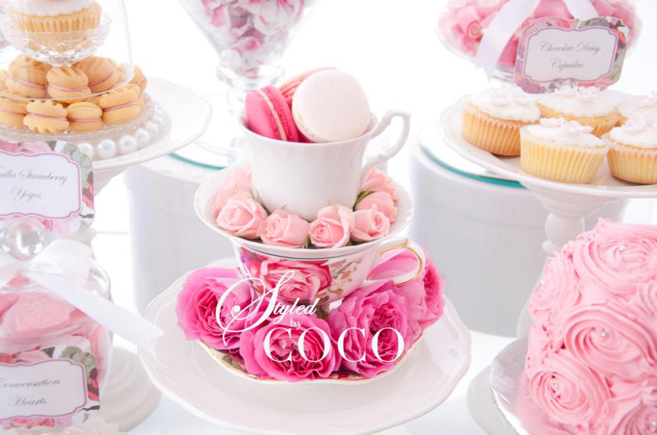 Kitchen tea pink roses macarons desserts