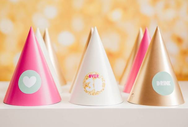 Party hats gold pink glitter party