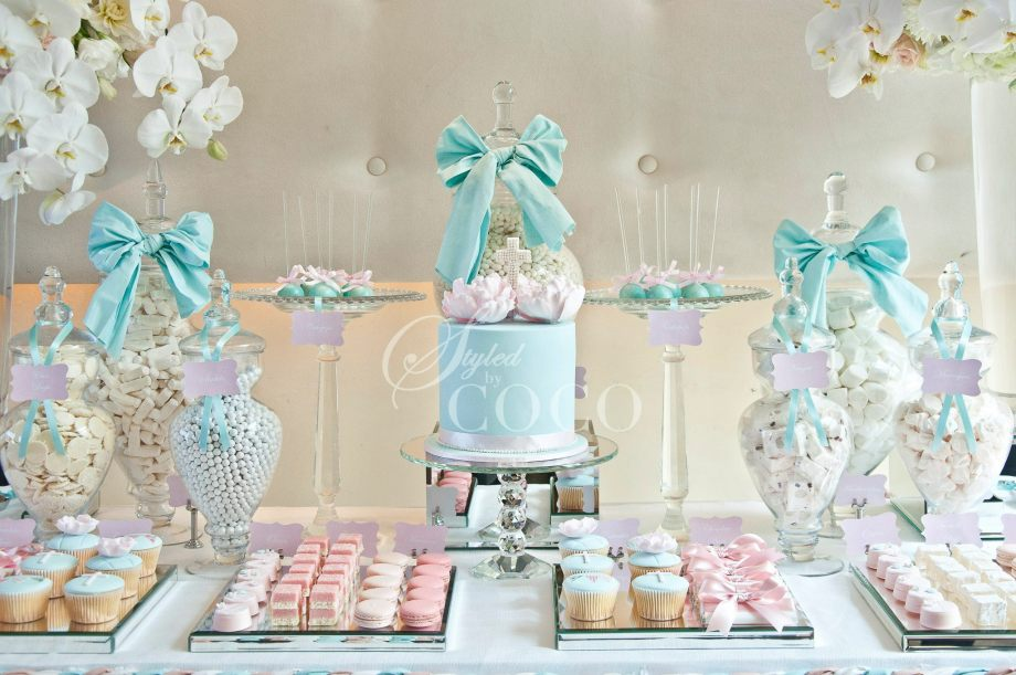 Pastels Blue Christening party table