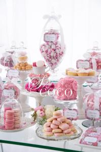 Pink kitchen tea lolly buffet