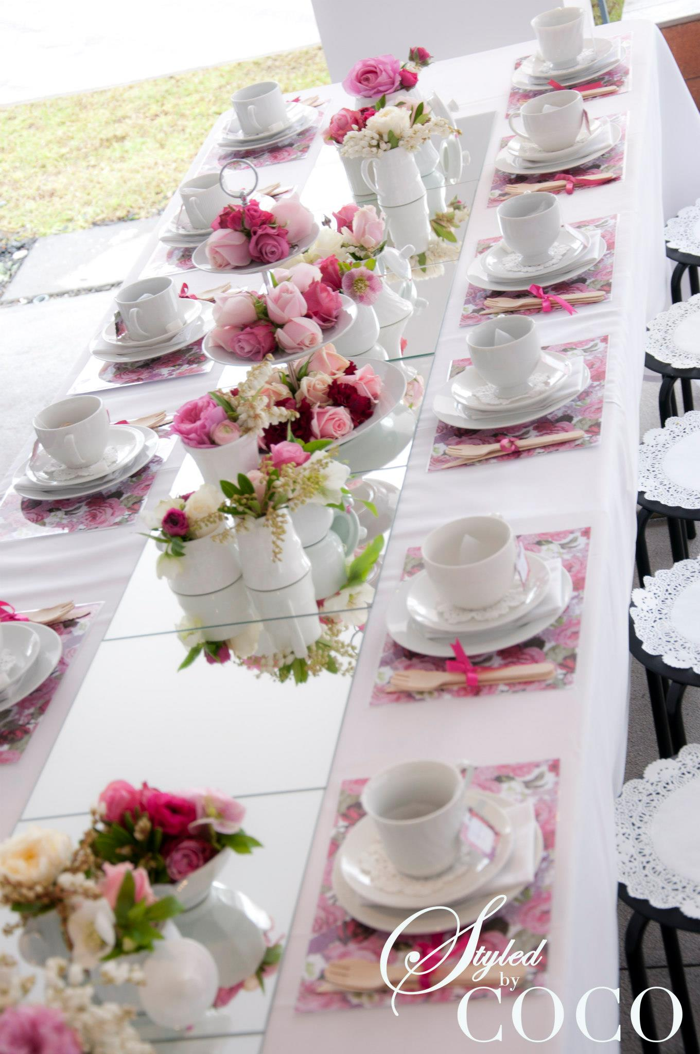Pretty in pink kitchen tea tickled pink party ideas - Table setting for a party ...