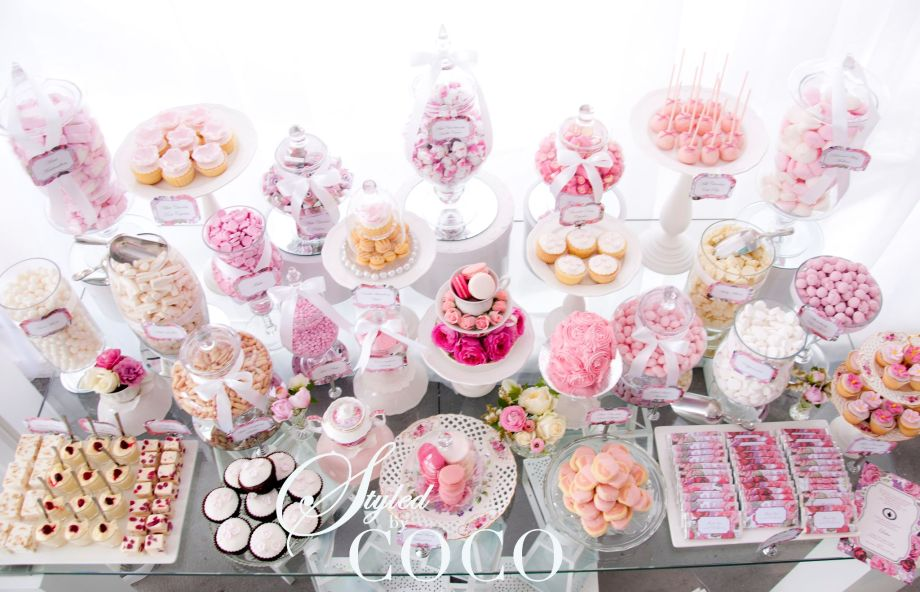 Pink kithen tea candy buffet