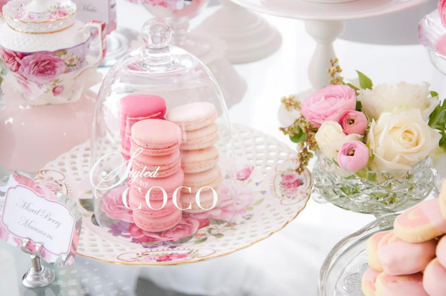 Pink pretty kitchen tea macarons