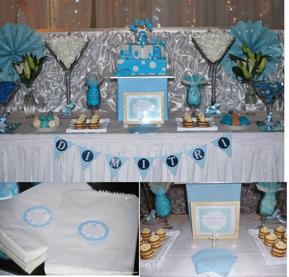 Blue White Christening lolly buffet group