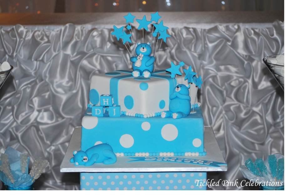 Blue & White Christening party table lolly buffet-cake