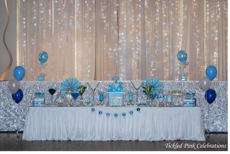 Blue & White Christening party table lolly buffet