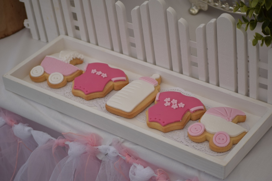 Pink baby shower cookies
