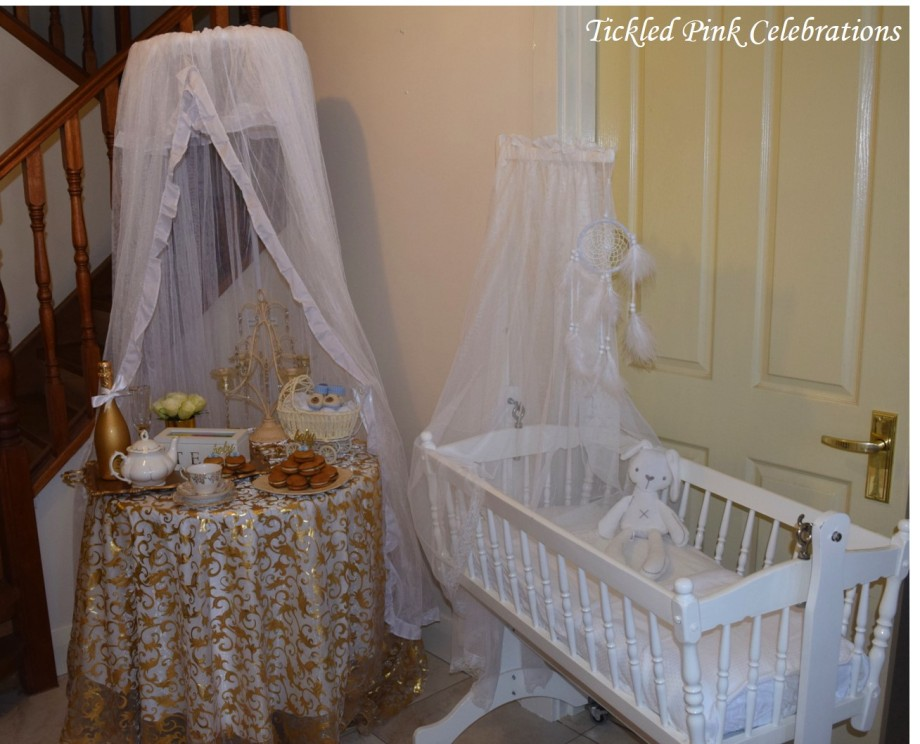 Boho Gold White Baby Shower High Tea cradle