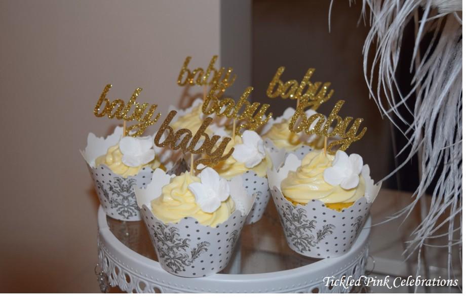 Boho Gold White Baby Shower High Tea dessert table cupcakes