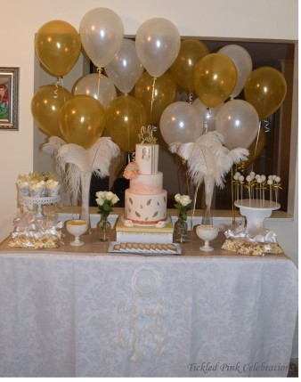 Boho Gold White Baby Shower High Tea dessert table