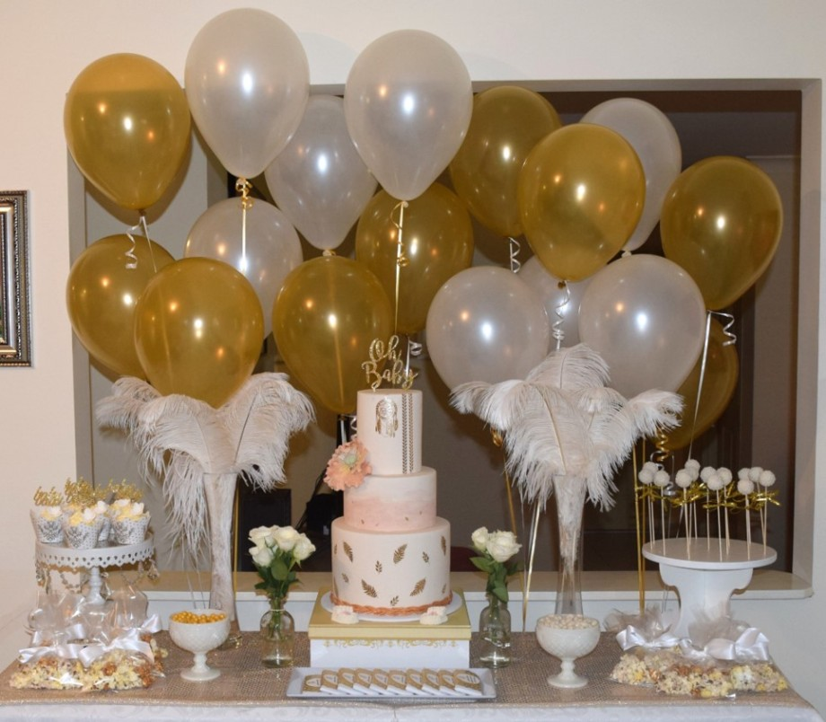 Boho Gold White Baby Shower High Tea dessert table2