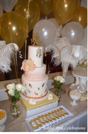 Boho Gold White Baby Shower High Tea dessert table3