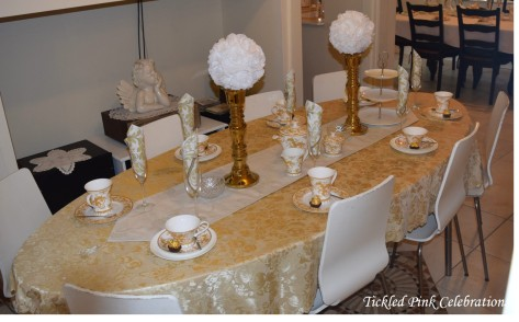 Boho Gold White Baby Shower High Tea table