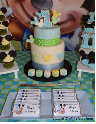 Baby Mickey Mouse 1st birthday party table-cake chocolate bars