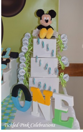 Baby Mickey Mouse 1st birthday party table-lollipop tower