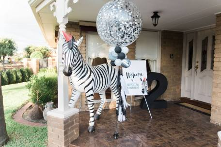 Black and White Monochrome zebra safari boys party18