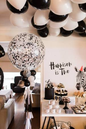 Black and White Monochrome zebra safari boys party5