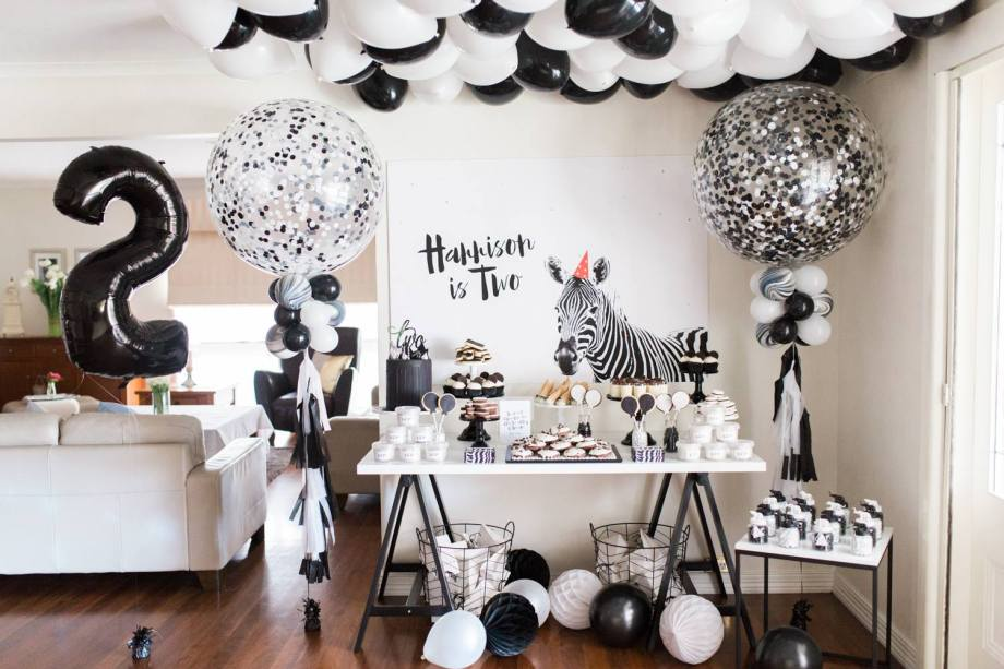 Black and White Monochrome zebra safari boys party6