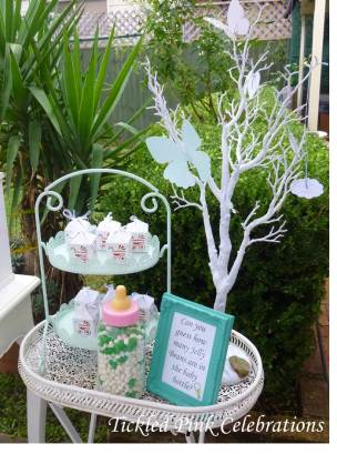 Enchanted Garden Baby Shower dessert buffet-baby bottle jelly beans game