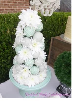 Enchanted Garden Baby Shower dessert buffet-cake pop flower tower