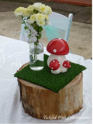 Enchanted Garden Baby Shower dessert buffet-centrepieces mushrooms treet stump