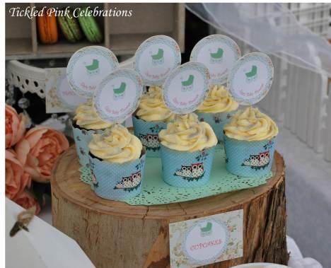 Enchanted Garden Baby Shower dessert buffet-cupcakes