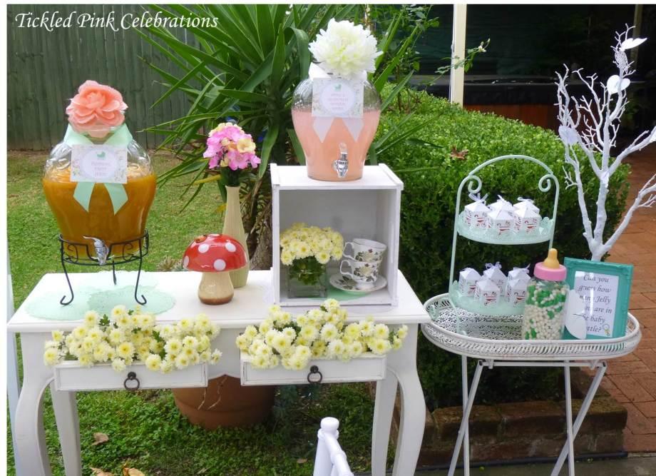 Enchanted Garden Baby Shower dessert buffet-drinks stand vintage flowers