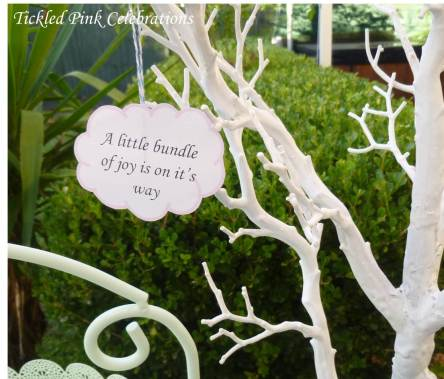 Enchanted Garden Baby Shower dessert buffet-handing decorations tree