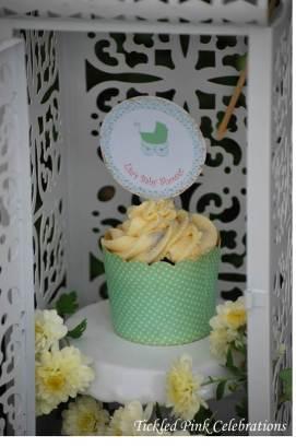 Enchanted Garden Baby Shower dessert buffet-lantern with cupcake