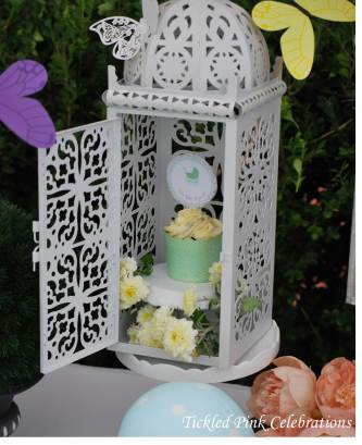 Enchanted Garden Baby Shower dessert buffet-lanterns with butterflies