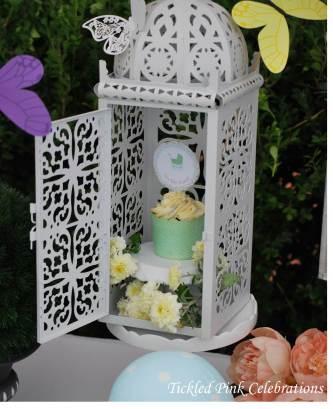 Enchanted Garden Baby Shower dessert buffet-lanterns with butterflies