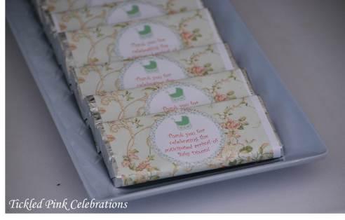 Enchanted Garden Baby Shower dessert buffet-personalised chocolates