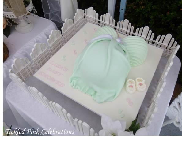 Enchanted Garden Baby Shower dessert buffet-pregnant belly cake mint green