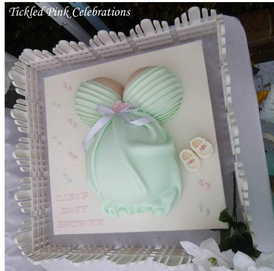 Enchanted Garden Baby Shower dessert buffet-pregnant belly cake mint green2