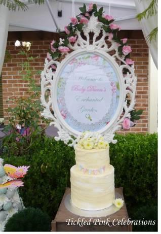 Enchanted Garden Baby Shower dessert buffet-vintage cake & provincial frame