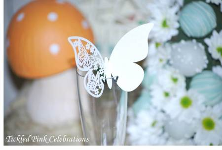 Enchanted Garden Baby Shower dessert buffet-wine glasses with butterflies